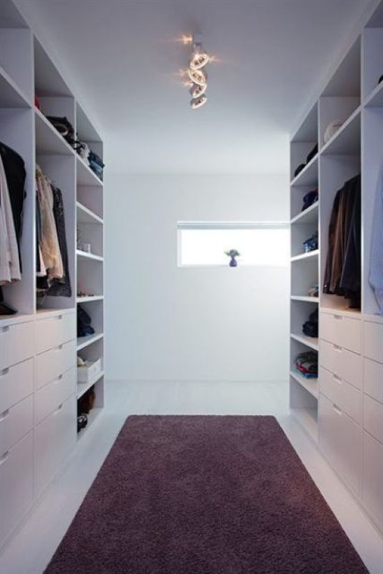 Minimalist White Closet With Open Shelves