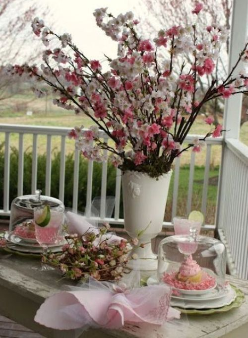 Spring Home Décor With A White Vase With Pink And Blush Blooming Branches