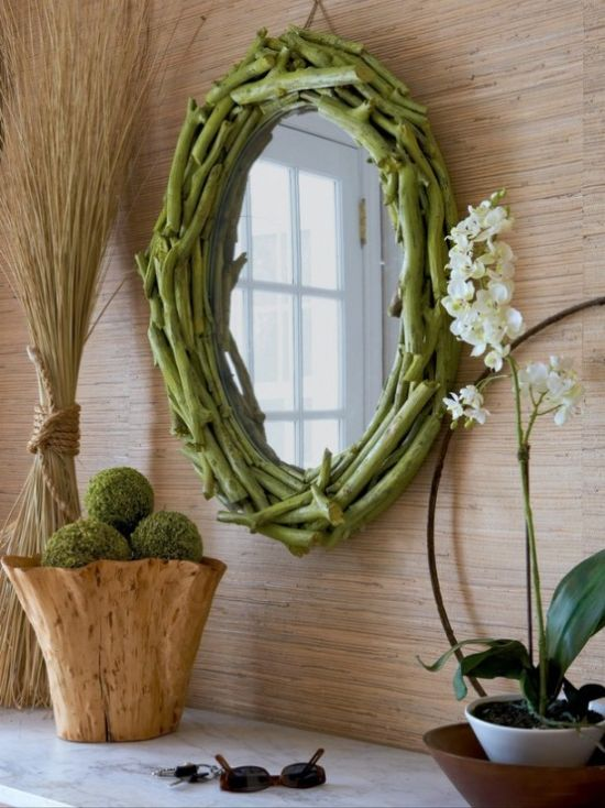 Spring Home Décor With A Wooden Bowl With Moss Balls