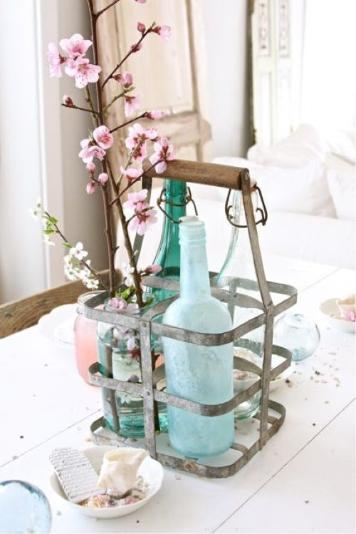 Spring Home Décor With Holder With Bottles And Cherry Blossoms