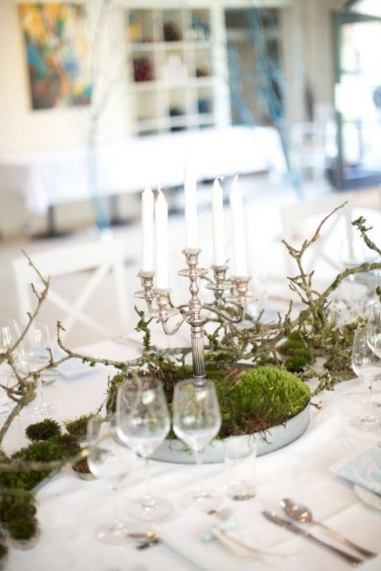 Spring Home Décor With Moss And A Chic Vintage Candelabra