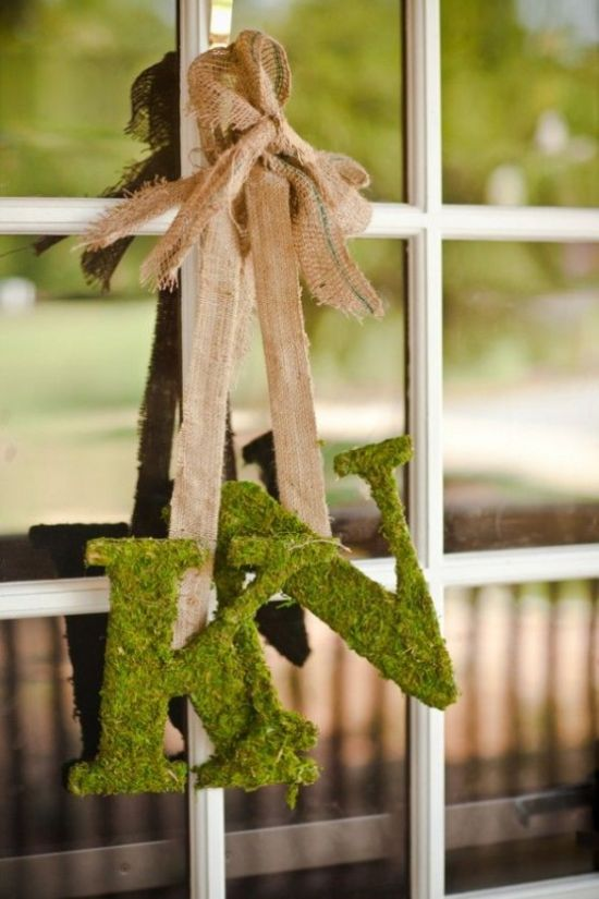 Spring Home Décor With Moss Monograms On Burlap Ribbons
