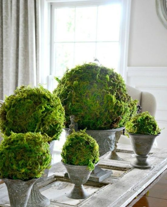Spring Home Décor With Vintage Urns With Giant Moss Balls