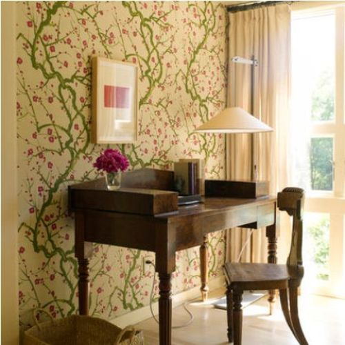 Spring Home Office Décor Idea With Bright Green And Pink Floral Print