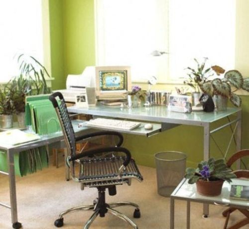 Spring Home Office Décor Idea With Bright Green Folders And A Mint Green Glass Table