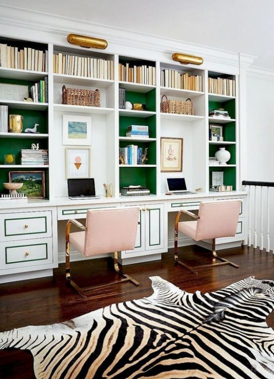 Spring Home Office Décor Idea With Bright Green Wall And Pink Chairs