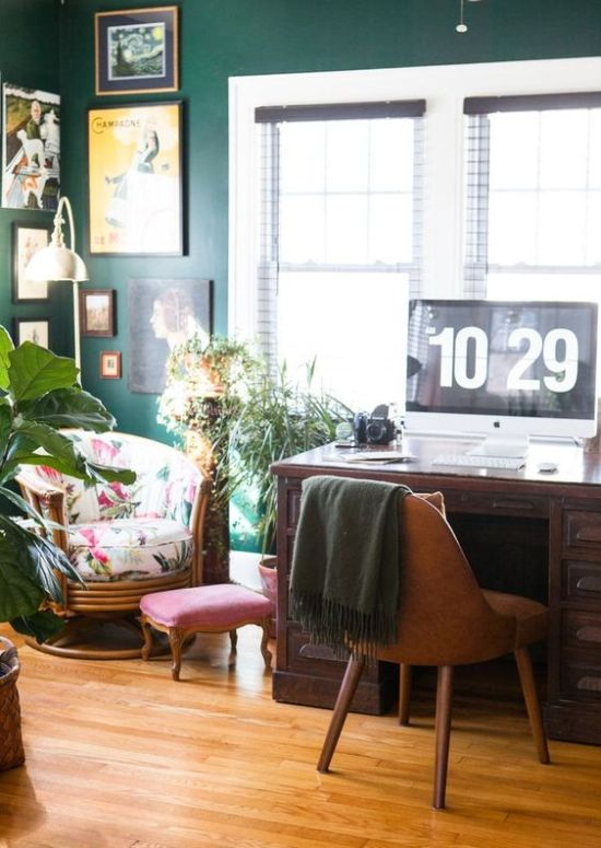 Spring Home Office Décor Idea With Bright Printed Chair And Potted Greenery