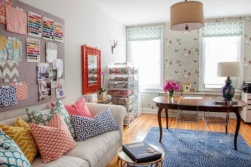 Spring Home Office Décor Idea With Colorful Pillows And A Frame