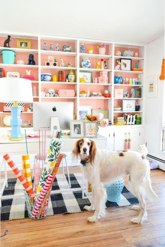 Spring Home Office Décor Idea With Peachy Pink Paper