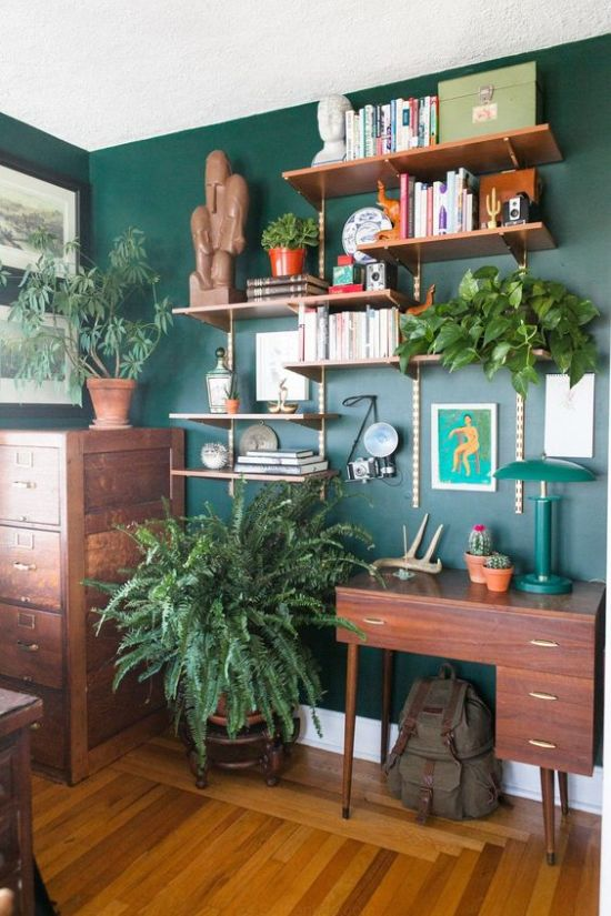 Spring Home Office Décor Idea With Potted Greenery And A Green Wall