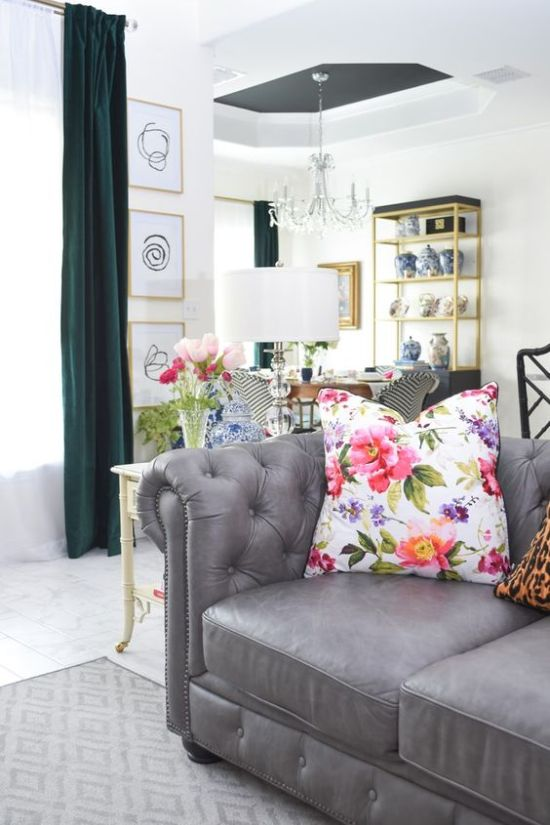 Spring Home Office Decoration With A Bright Floral Print Pillow And Fresh Blooms