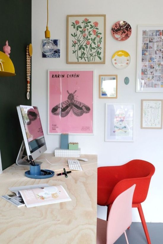 Spring Home Office Decoration With A Bright Gallery Wall And Colorful Chairs
