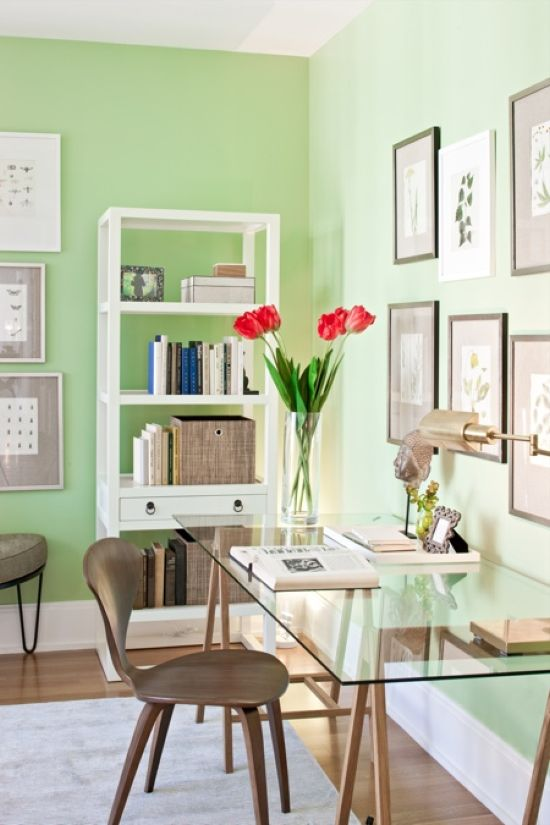 Spring Home Office Decoration With Bright Green Walls And Fresh Tulips