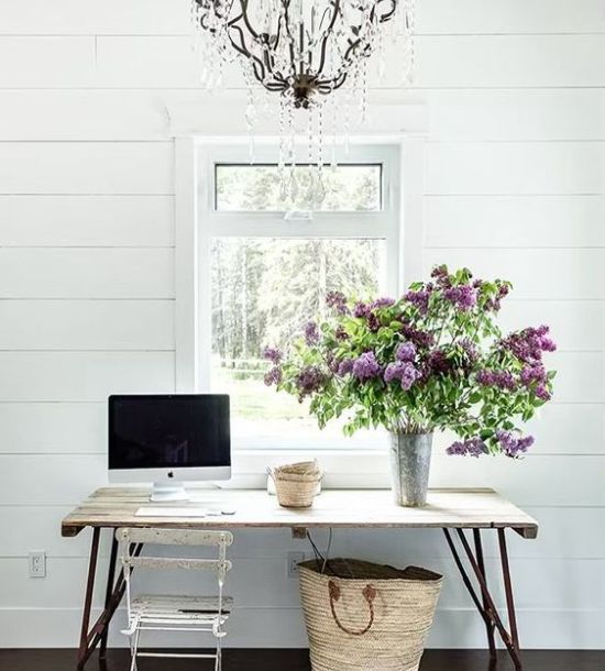 Spring Home Office Decoration With Floral Branches In A Metal Vase