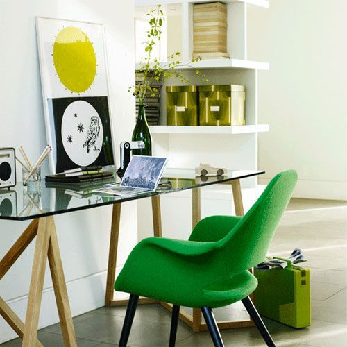 Spring Home Office Decoration With Green Boxes And An Artwork