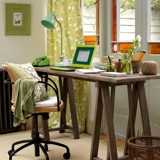Spring Home Office Decoration With Green Floral Print Curtains And A Pillow