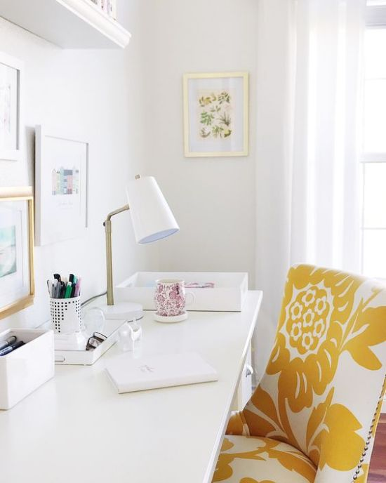 Spring Home Office Decoration With Yellow And White Floral Chair