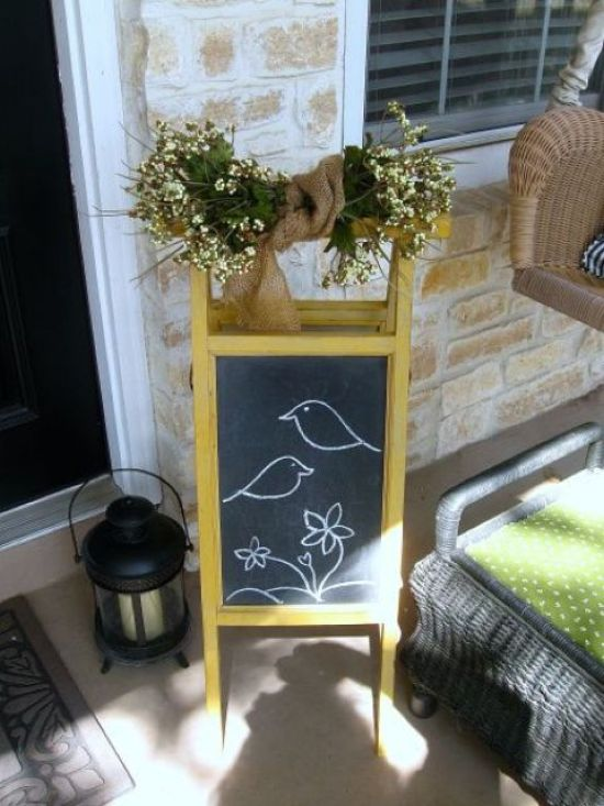 Spring Porch Decor Idea With Chalkboard Sign With Fresh Blooms