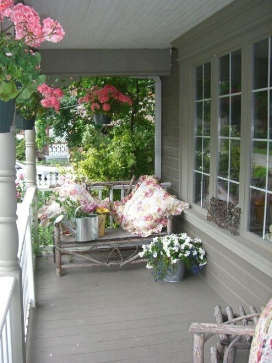 Spring Porch Decor Idea With Pink And White Blooms In Pots