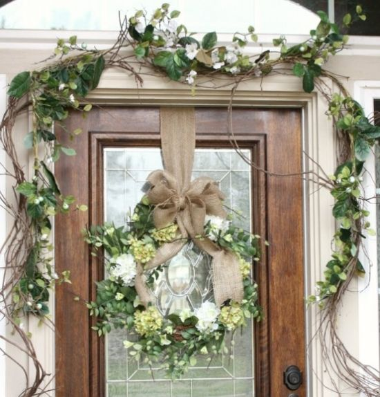 Spring Porch Decor Idea With White And Green Blooms