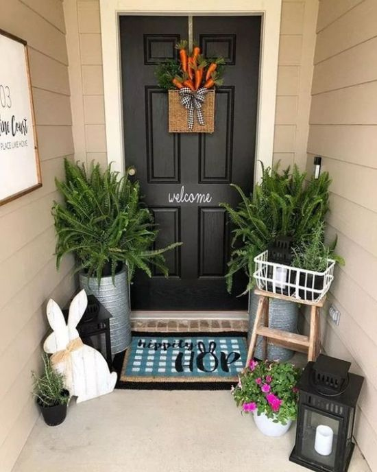 Spring Porch Decor With A Fake Carrot Door Decoration