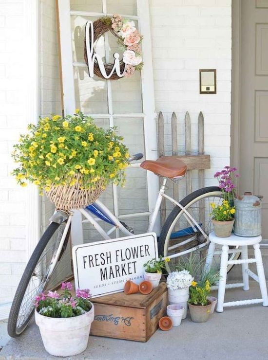 Spring Porch Decor With A Fake Flower Wreath