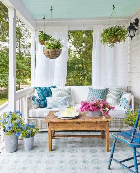 Spring Porch Decor With Potted Greenery And Blooms