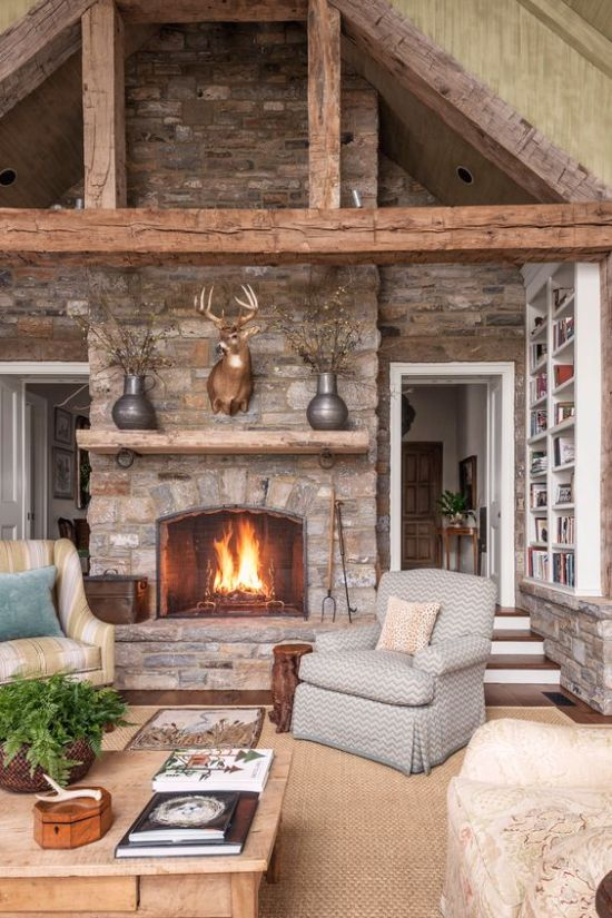 Stone Fireplace With A Jute Rug And Vintage Furniture