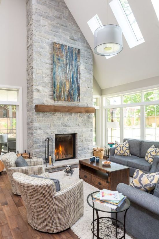 Stone Fireplace With A Wooden Mantel And A Bright Blue Artwork