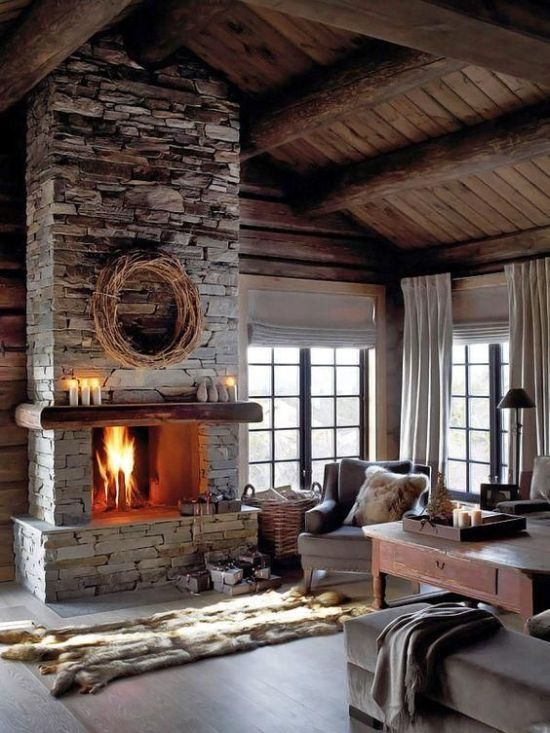 Stone Fireplace With Faux Fur Rugs And Blankets And Candles