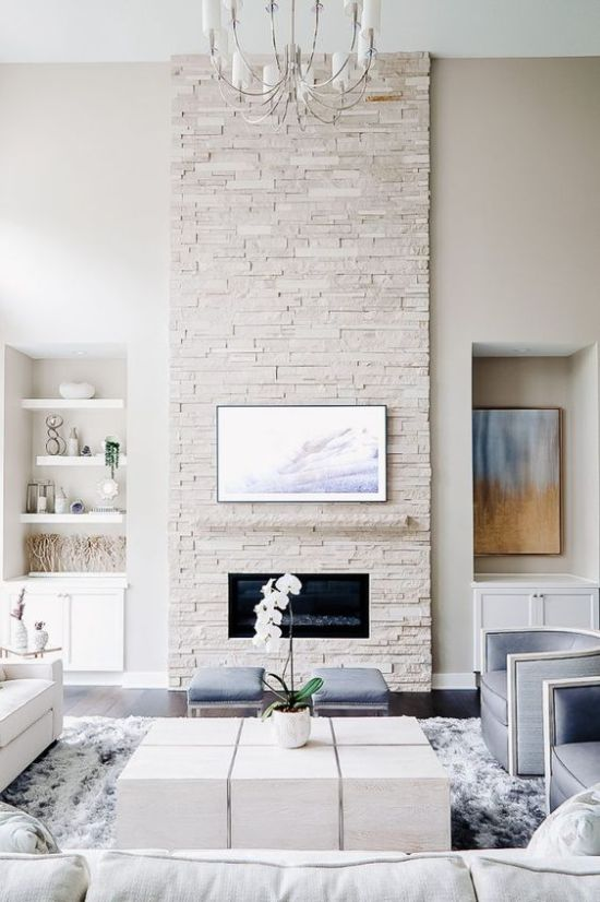 Stone Fireplace With Pastel Blue Touches