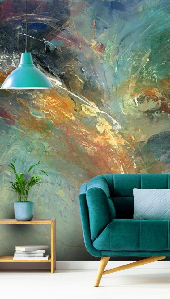 A Bold Abstract Wall Mural In Greens And Blues For Living Room Wall Decor