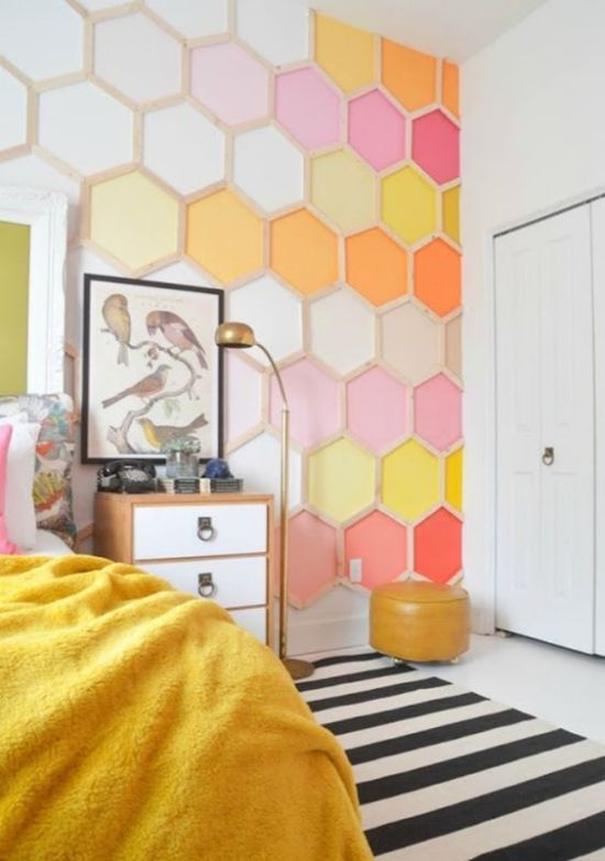 Bedroom With Bright Hexagon Wall Mural