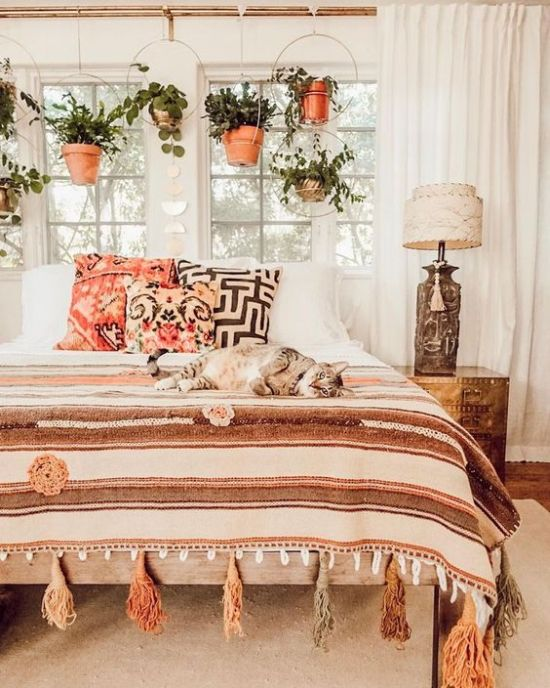 Boho Bedroom Decor With Potted Greenery