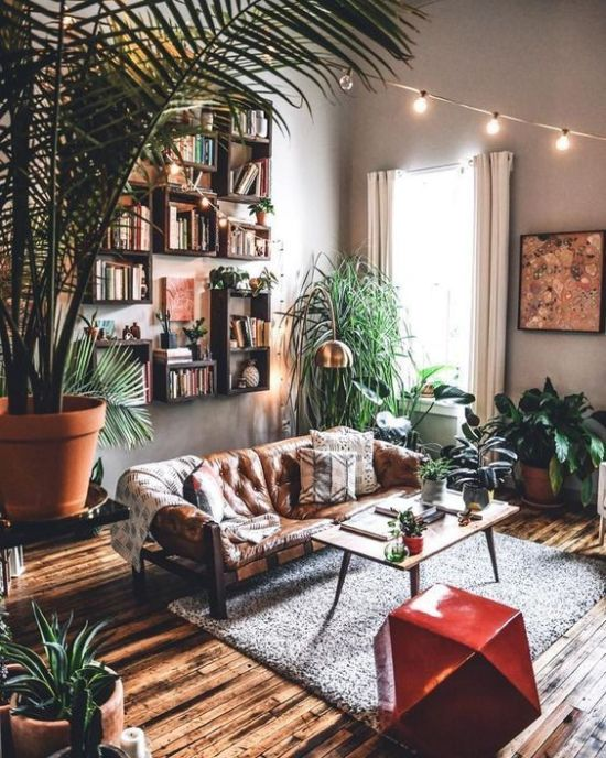 Boho Living Room Decor With An Arrangement Of Bookshelves