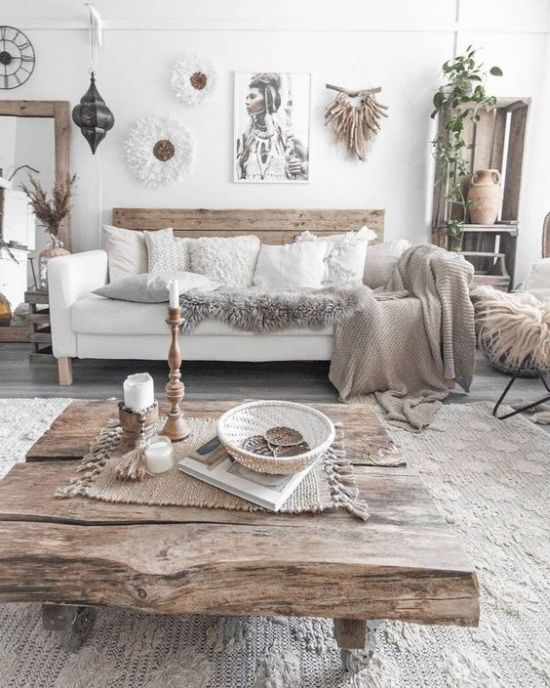 Boho Living Room Decor With Much Wood And Knit