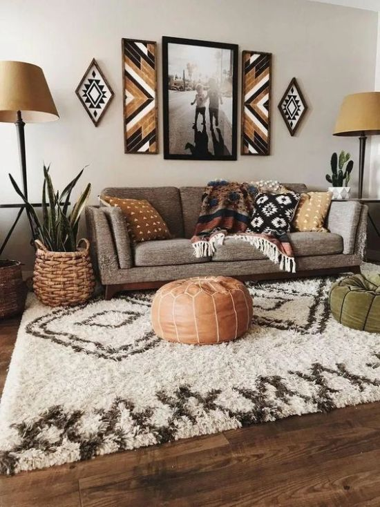 Boho Living Room Finished In Earthy Colors