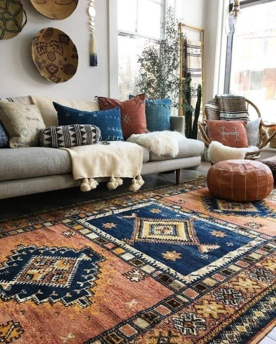 Bright Boho Living Room Decor With Colorful Throws