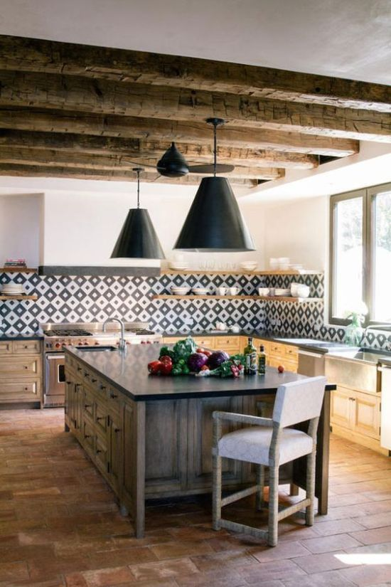 Bright Modern Spanish Kitchen With Wooden Beams