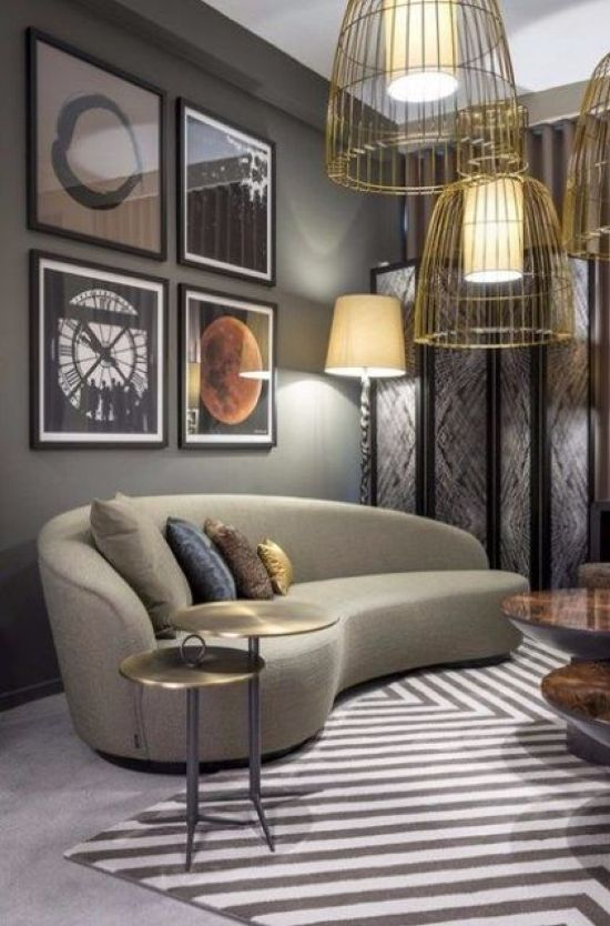 Catchy Living Room With A Curved Taupe Sofa