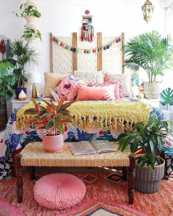 Colorful Boho Bedroom Decor With All Bright Textiles And Linens