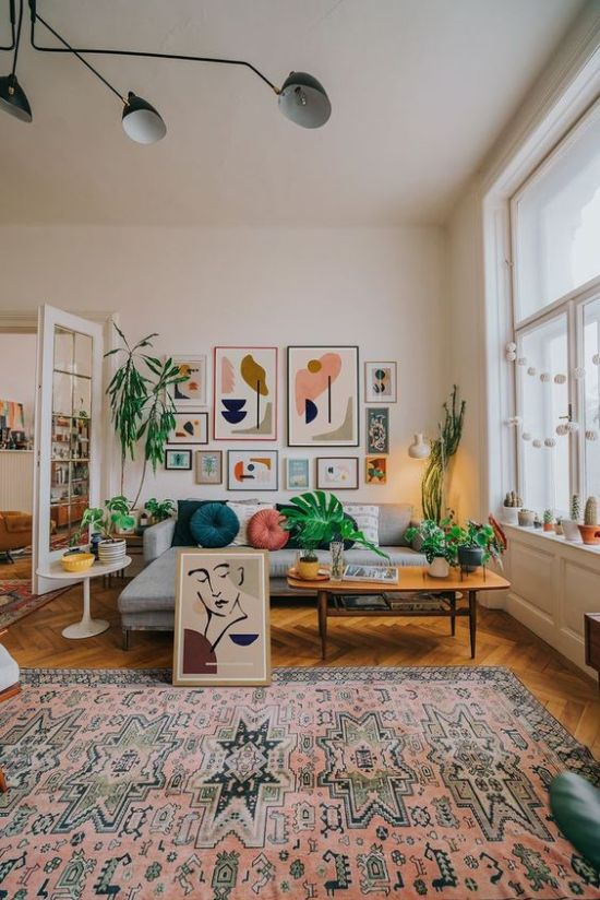 Colorful Boho Mid-Century Living Room Decor With A Bright Gallery Wall