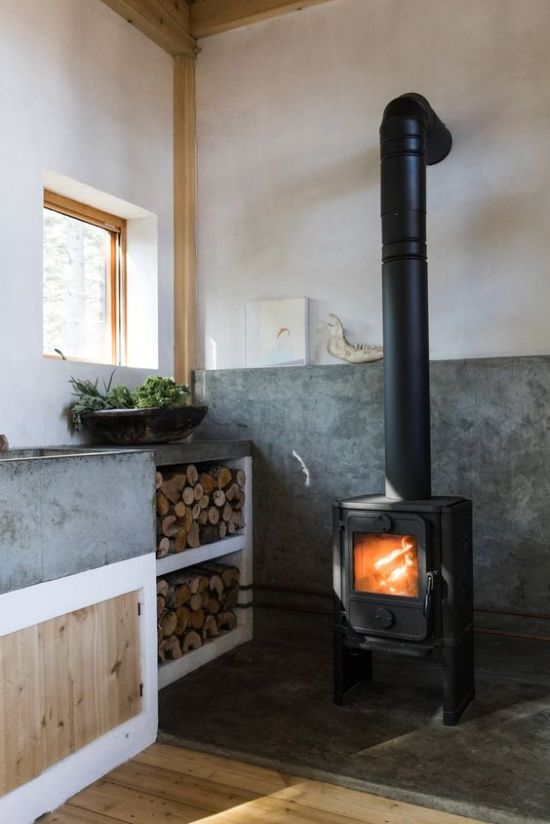 Contemporary Kitchen With Vintage Home Wood Burning Stove