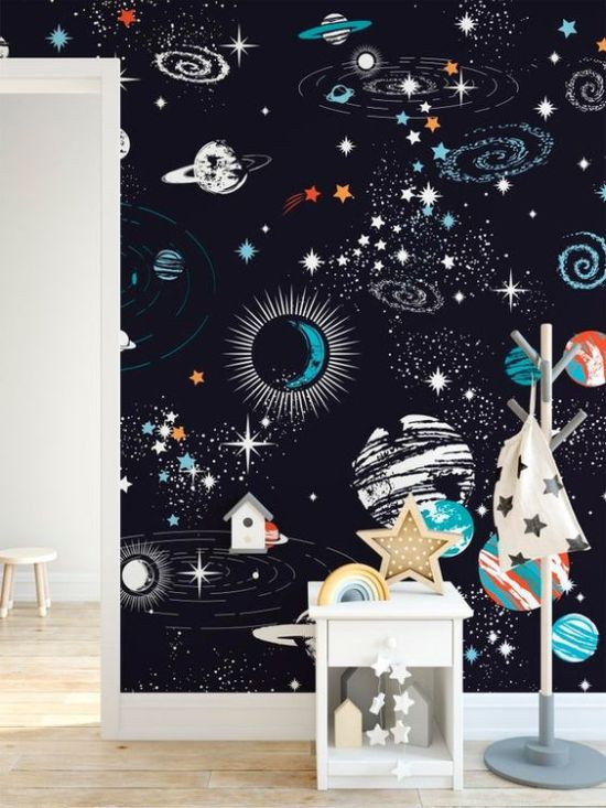 Cute Space Wall Mural For Kids Bedroom