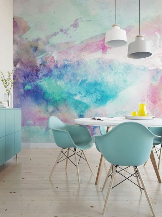 Dining Room With Colorful Watercolor Wall Mural