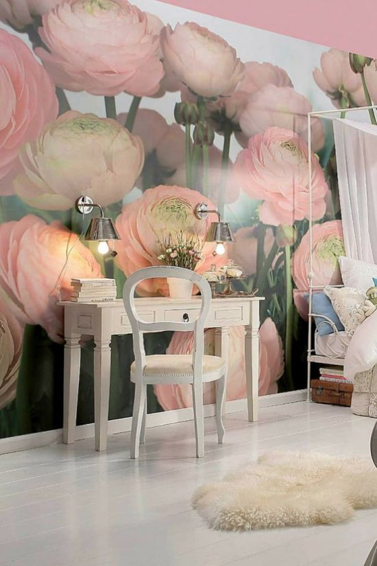 Girl Bedroom With Pink Ranunculus Wall Mural