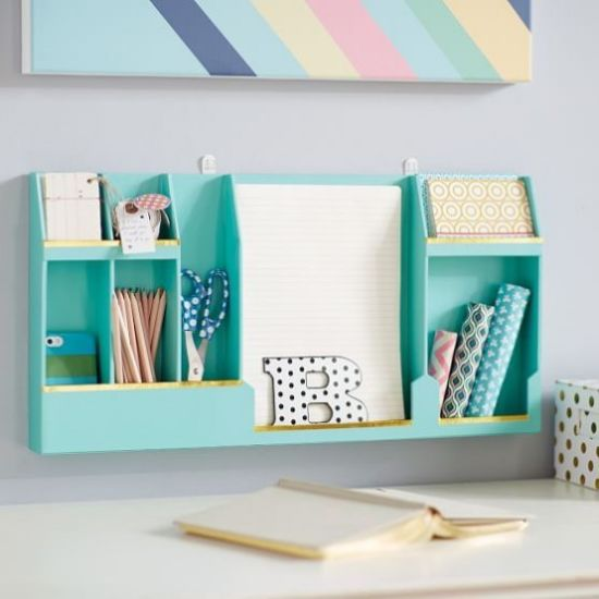 Home Office Organizing With Colorful Wall-Mounted Storage Unit