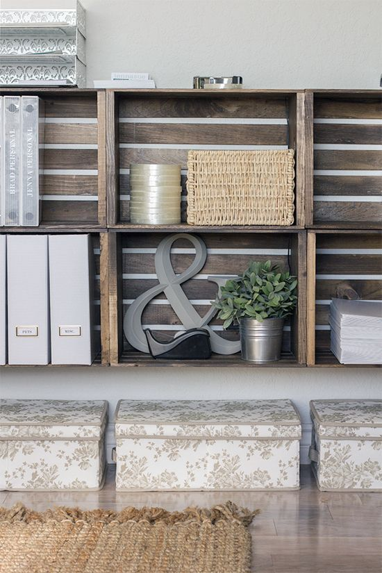 Home Office Organizing With Crate Shelves