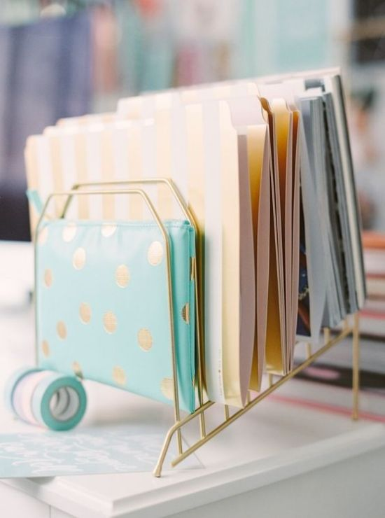 Home Office Organizing With Elegant Gold File Holder