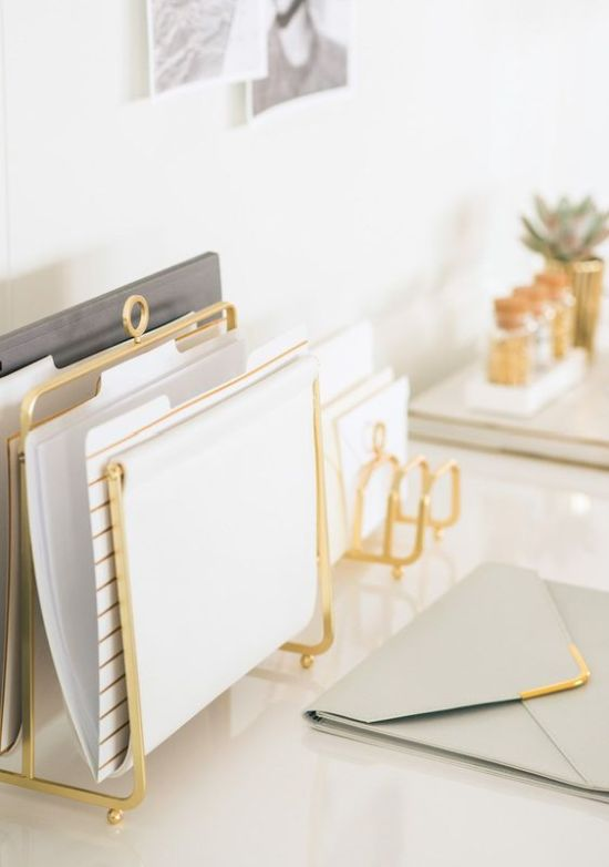 Home Office Organizing With Gold Holders